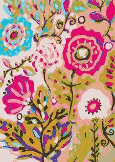Flowers Bohemian Pink Large Digital Art by Karen Fields