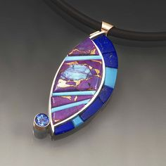 Pendant,Inlays of lapis, turquoise, Mohave Turquoise,blue topaz sterling silver and 14 ct. gold Indigo Arts Studio on Etsy