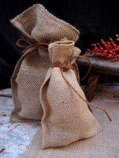 Burlap bags with jute ties