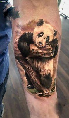 Brilliant 3d Panda Animal Forearm Tattoo For Men