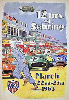 1960s motorsport poster. 12hrs of Sebring 63