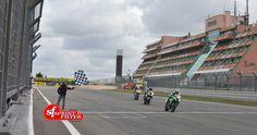 Leandro Mercado wins on Kawasaki ZX-10R in the FIM STK1000, third Niccolò Canepa on his Ducati 1199 Panigale