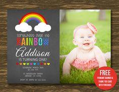 Rainbow Chalkboard Birthday Invitation  Printable  by SweetGumdrop