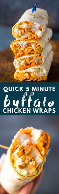 5 Minute Buffalo Chicken Wraps – www.kindofrecipes… 5 Minuten Buffalo Chicken Wraps – www. Buffalo Chicken Wraps, Buffalo Chicken Recipes, Chicken Wrap Recipes, Healthy Chicken Wraps, Chicken Ideas, Chicken Tortilla Wraps, Buffalo Chicken Burgers, Healthy Wraps, Healthy Buffalo Chicken