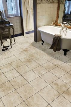 Tarkett LVT SPKY401 Chalk Hallway Flooring, Floating Floor, Luxury Vinyl Flooring, Clawfoot Bathtub
