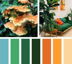 Wild Orange - Naranja y verde, una paleta de colores salvaje y atrevida. Color Harmony, Color Balance, Yarn Color Combinations, Living Etc, Design Apartment, Pallet Painting, Color Pallets, Color Themes, Decoration