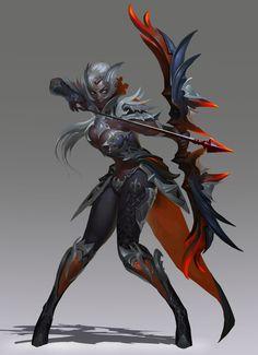 Hunter by CheolSeung _ on ArtStation. Female Character Design, Character Design Inspiration, Character Art, Fantasy Art Women, Fantasy Girl, Dark Elf, Fantasy Armor, Fantasy Inspiration, Fantasy Characters