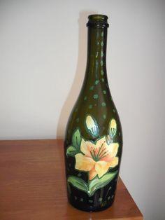 Garrafa flor/pintas verdes