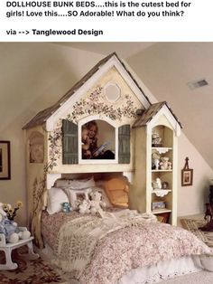 Doll House Bunk Beds For Sisters. Adorable Doll House Bunk Beds For Sisters.Adorable Doll House Bunk Beds For Sisters. Cool Bunk Beds, Kids Bunk Beds, Loft Beds, Bunk Beds For Girls Room, Baby Room Decor, Bedroom Decor, Bedroom Ideas, Bedroom Furniture, Wall Decor