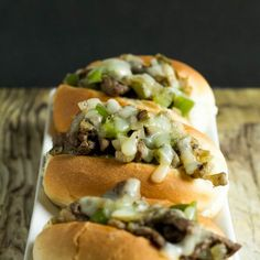 Thinly sliced beef, sauteed with green peppers, onion and mushrooms served on a soft slider bun with melted provolone cheese.