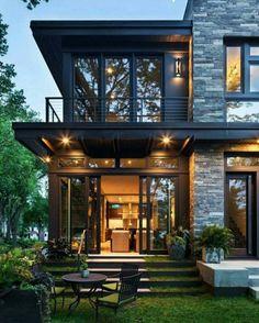 Modern home design exterior interior and house design best modern home ideas on modern home interior Modern Brick House, Brick House Designs, Modern House Plans, Black House Exterior, Modern Exterior, Exterior Design, Exterior Stairs, Exterior Siding, Exterior Windows