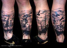 Dark Ink Forest Tattoo On Leg For Men