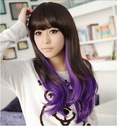Synthetic Harajuku Style Wavy Black Mixed Purple Lolita Cosplay Wig ** Click image to review more details.Note:It is affiliate link to Amazon.