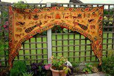 Vintage Large Indian Toran Door / Window Hanging Gujarati Embroidery & Mirrors | eBay