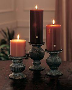 #PartyLite Ebony Wood & Patchouli 3-Piece Pillar Garden with Modern Rustic Pillar Holder