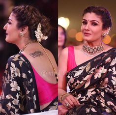 You can zoom in to the tattoo on her back visible from her saree blouse. Saree Hairstyles, Indian Bridal Sarees, Indian Wedding Hairstyles, Saree Look, Elegant Saree, Designer Sarees Online, Designer Dresses, Saree Styles, Beautiful Saree