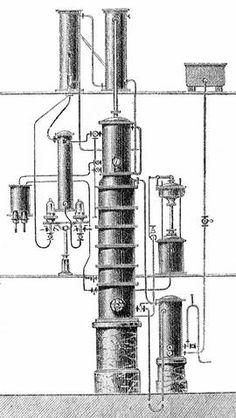 Kolonový destilační přístroj na nepřetržitou destilaci vína.