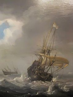 Detail of Shipping in Stormy Seas by Julius Porcellis 1610-1654 Oil on Canvas (1) by mharrsch, via Flickr