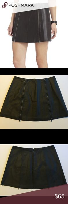 "New BCBGMAXAZRIA ""Myra"" Faux Leather Skirt Brand new skirt, never worn.Tag fell off. This is a really nice black faux leather mini skirt. It was hanging in my closet and you can see the clamps of the hanger on the pictures but nothing major.  Feel free to ask any questions! Open to offers No trades please I do not model Happy Poshing :)! BCBGMaxAzria Skirts Mini"