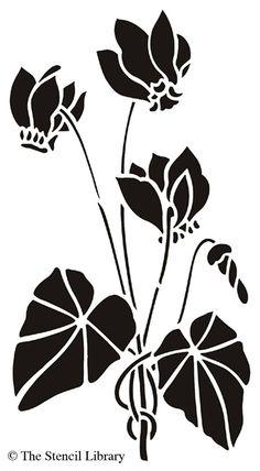 Garden stencils from The Stencil Library. Stencil catalogue quick view page Stencil Patterns, Stencil Art, Stencil Designs, Flower Stencils, Flores Art Nouveau, Art Nouveau Flowers, Woodblock Print, Glass Etching Stencils, Stencils Online