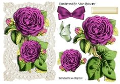 Pretty pink roses on old ecru  lace  A5 on Craftsuprint - View Now!