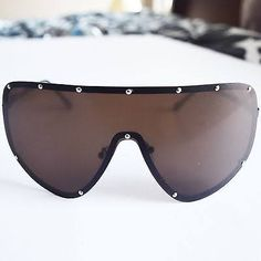 Brown Oversized Studded Shield Aviators Sunglasses Rick Owens Inspired