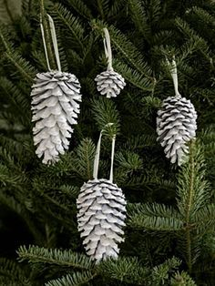 pinecone ornaments - glitter spray paint, metallic spray paint, or white spray paint