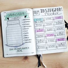 Take a look at my saving goals and instagram tracker in my bullet journal. In 2017 I want to save every month a little bit of money for cat emergencies or for special wishes. So each month I saved my 30 € goal i can colour out my tracker glass step by step till its full. So motivated to save my money now. 😂 On the right you can see my insta tracker. Everytime I get more follower or accomplish my next goal is give it colour and write down the date. At this way I can see how my account is…