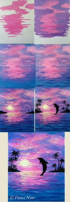 Step by step painting, Dolphin Joy beginner painting idea, Dolphin jumping into purple pink sunset. Step by step painting, Dolphin Joy beginner painting idea, Dolphin jumping into purple pink sunset. Watercolor Paintings For Beginners, Beginner Painting, Watercolor Beginner, Acrylic Painting For Beginners Step By Step, Watercolor Sunset, Easy Paintings For Beginners, Easy Acrylic Paintings, Beginner Art, Watercolor Techniques