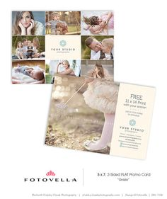 Grazia 5x7 Promo Card Postcard Template For Photographers By Fotovella Featuring Images
