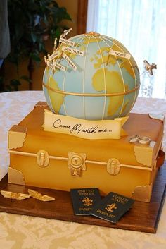 Traveling around the world Cake by lourdes (could say come sail with us instead of fly)
