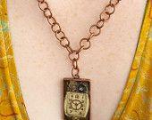 Steampunk Watch Gear Pendant in Copper with Copper Chain