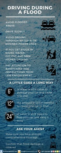 Driving during a flood is extremely dangerous - it's best to stay off the roads. However, if you are unable to avoid roads with water, here are some tips for driving during a flood. Safe Driving Tips, Driving Safety, Flood Insurance, Car Insurance, Car Care Tips, Assurance Auto, Disaster Preparedness, Insurance Quotes, Safety Tips