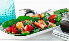 CanolaInfo | Spinach Salad with Grilled and Fresh Fruit |Serving grilled fruit with fresh fruit not only makes a great-looking combination, but also provides two layers of flavor.