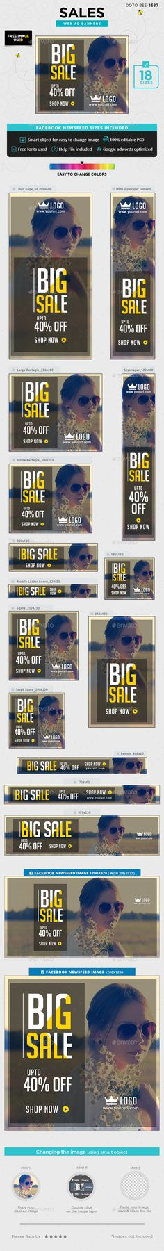 Sales Banners Design - Banners & Ads Web Template PSD. Download here: https://graphicriver.net/item/sales-banners/16958015?s_rank=3&ref=yinkira