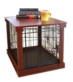 Using a dog crate with wooden framing puts an elegant spin on the traditional wire crate. The Dog Crate with Wooden Cover adds a sophisticated flair to your home while also providing a resting place for your pet. guarantee on dog crates at PetMeds. Dog Cages, Pet Cage, Dog Crate End Table, A Table, Crate Bed, Wood Table, Wire Crate, Airline Pet Carrier, Crate Training