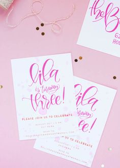 Pink Hand Lettered Birthday Party Invitations by Pour L'Amour Creative / Oh So Beautiful Paper
