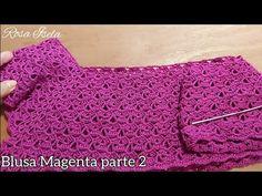 Blusa Magenta parte 2 - YouTube Blouse Au Crochet, Crochet Cardigan, Magenta, Crochet Baby, Crochet Top, Crochet Bedspread, Crochet Videos, Knitting, Youtube