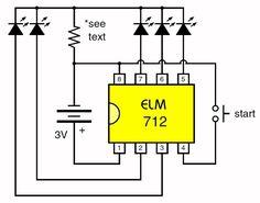 ELM712, vijfkanaals looplicht besturing. De ELM712 van Elm Electronics bevat alle digitale elektronica die noodzakelijk is voor het samenstellen van een vijfkanaals looplicht.