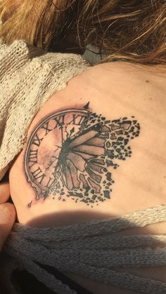 butterfly tattoo clock