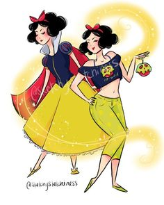 Casual Snow White and Princess Snow White! I'm going to have fun this month drawing all the casual princesses from Disney Art, Disney Movies, Disney Pixar, Disney Characters, Walt Disney, Snow White 2, Snow White Disney, Princess Pocahontas, Princess Belle