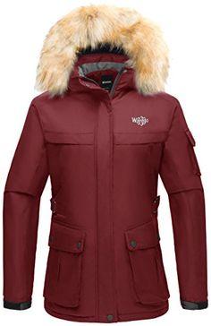 2ec76a229acf8 Wantdo Womens Hooded Waterproof Outdoor Winter Sports Parka Windproof Ski  Jacket Wine Red US Small