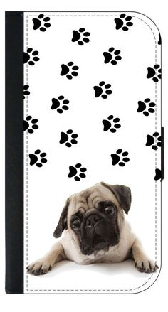 Sad Pug and Pawprints-TM Leather-Look Apple iPhone 6+, 6s+ Wallet Case with Closing Flip Cover and Credit Card Slots (Not Compatible with the Standard iPhone 6, 6s). High Quality PU Leather and Suede Wallet Case with a Flip Cover that Closes with a Magnetic Clasp-Compatible with the Apple iPhone 6 Plus, 6s Plus (Not Compatible with the Standard iPhone 6, 6s). Permanent Quality Vibrant Flat-Printed Image. No Textured or 3D Print. Quick Processing and Shipping! Ships from the U.S.A. High…
