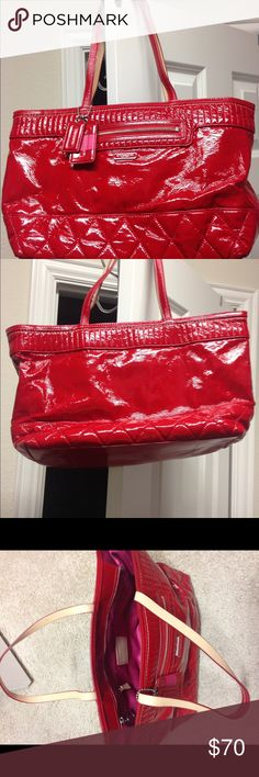 Coach red patent leather 18674 Slightly used, looks brand new, Coach red patent leather handbag with pink satin interior lining. Coach Bags Shoulder Bags
