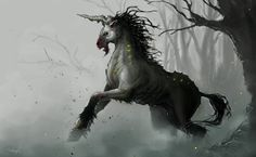 Plague-Breed Unicorns are ominous pale creatures roaming the outermost regions of the Misty Forest. Their plague-sickened bodies radiate a faint green l. Magical Creatures, Fantasy Creatures, Aliens, Misty Forest, Best Water Bottle, Creature Concept Art, Story Inspiration, Vintage Prints, Horses
