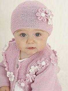 baby knitting pattern rosie posie flowers long short sleeve cardigan hat headbanks birth to 2 yearsdk wool stunning knitting pattern of baby set size form birth to 2 years . 2 cardigans long and short sleeve. hat and headband. Baby Hat Knitting Pattern, Baby Hat Patterns, Baby Hats Knitting, Knitting For Kids, Knitting Patterns Free, Knitted Hats, Newborn Knit Hat, Crochet Patterns, Knitting Sweaters