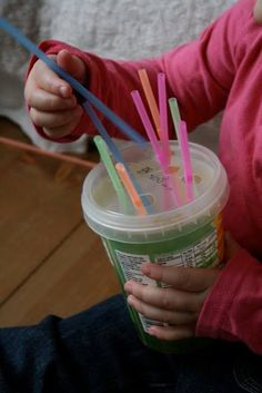 Fine motor activity, quiet time activity, also can be sorting colors, etc
