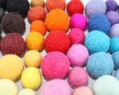 100 felted balls,15 -18mm MultiColor more than 45 different colors. $24.00, via Etsy.