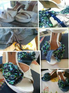 Sandália surrada, pode ganhar cara nova com aviamentos, jeans, e cola.