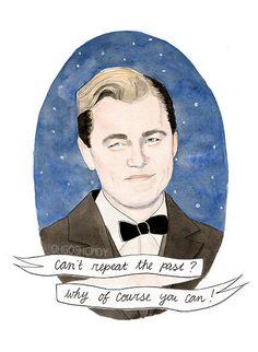 Jay Gatsby (Leonardo Dicaprio) watercolour portrait PRINT The Great Gatsby, by ohgoshCindy #art